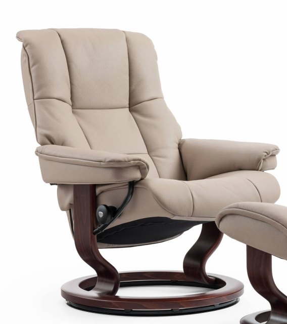 Flash Furniture Contemporary Beige Leather Recliner and Ottoman with Swiveling Mahogany Wood Base