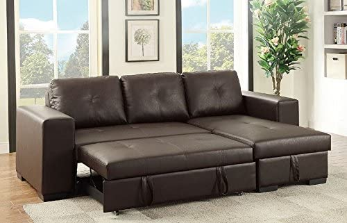 PoundexBobkona Nathan Sectional With Pull Out Bed