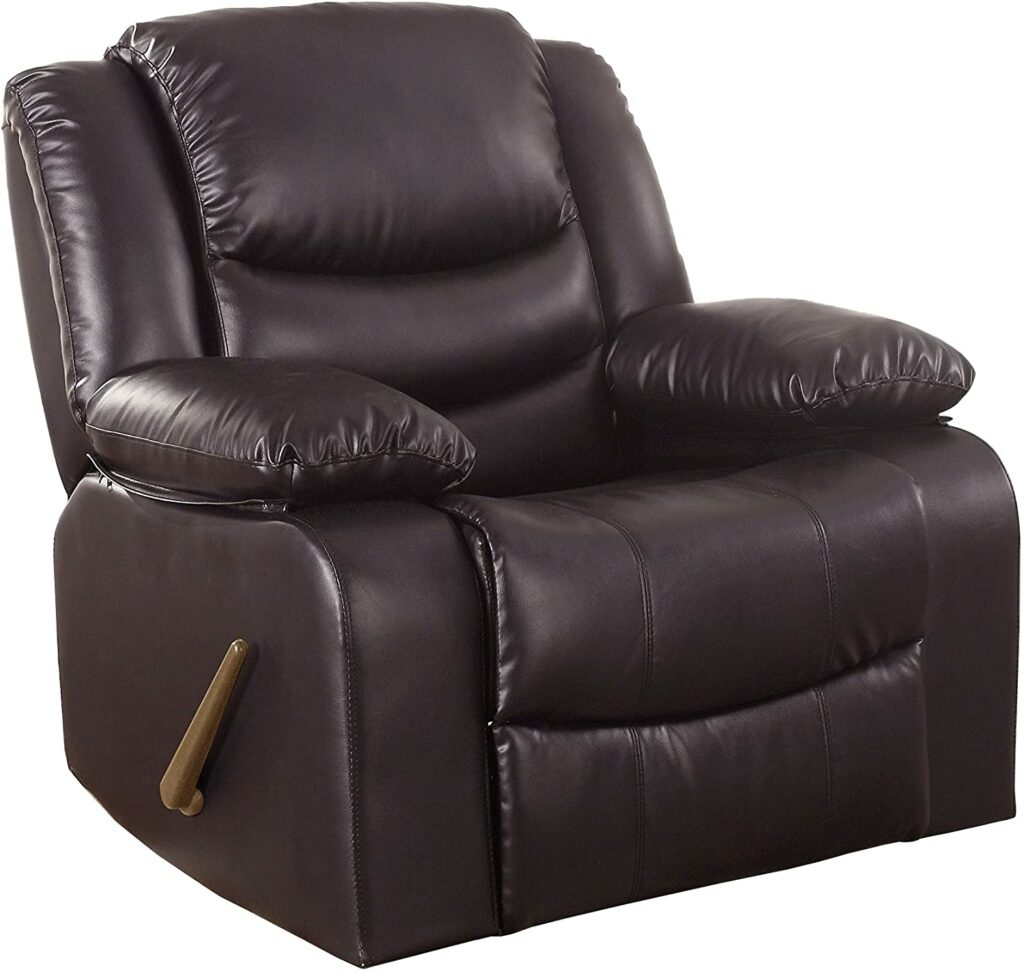 Bonded Leather Rocker Recliner Living Room Chair Brown