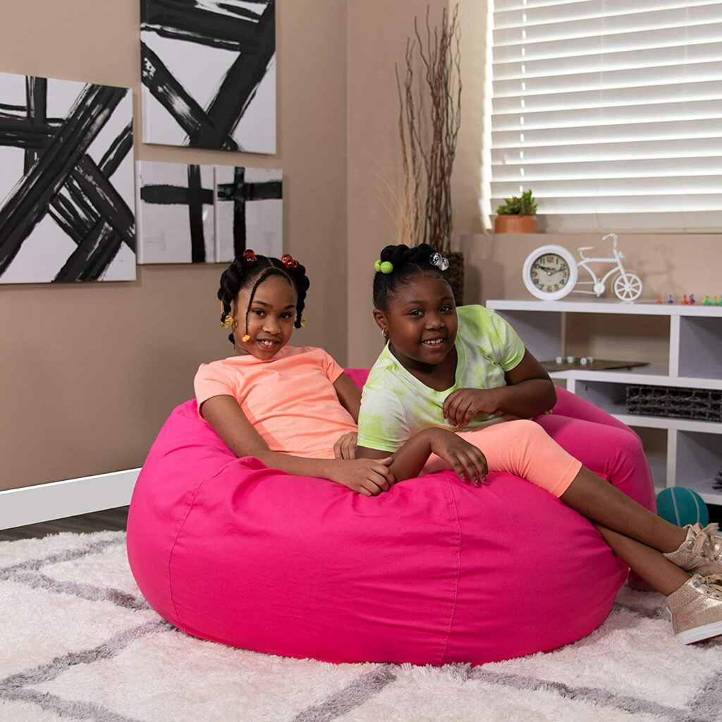 Flash Furniture Oversized Solid Hot Pink Bean Bag Chair for Kids and Adults