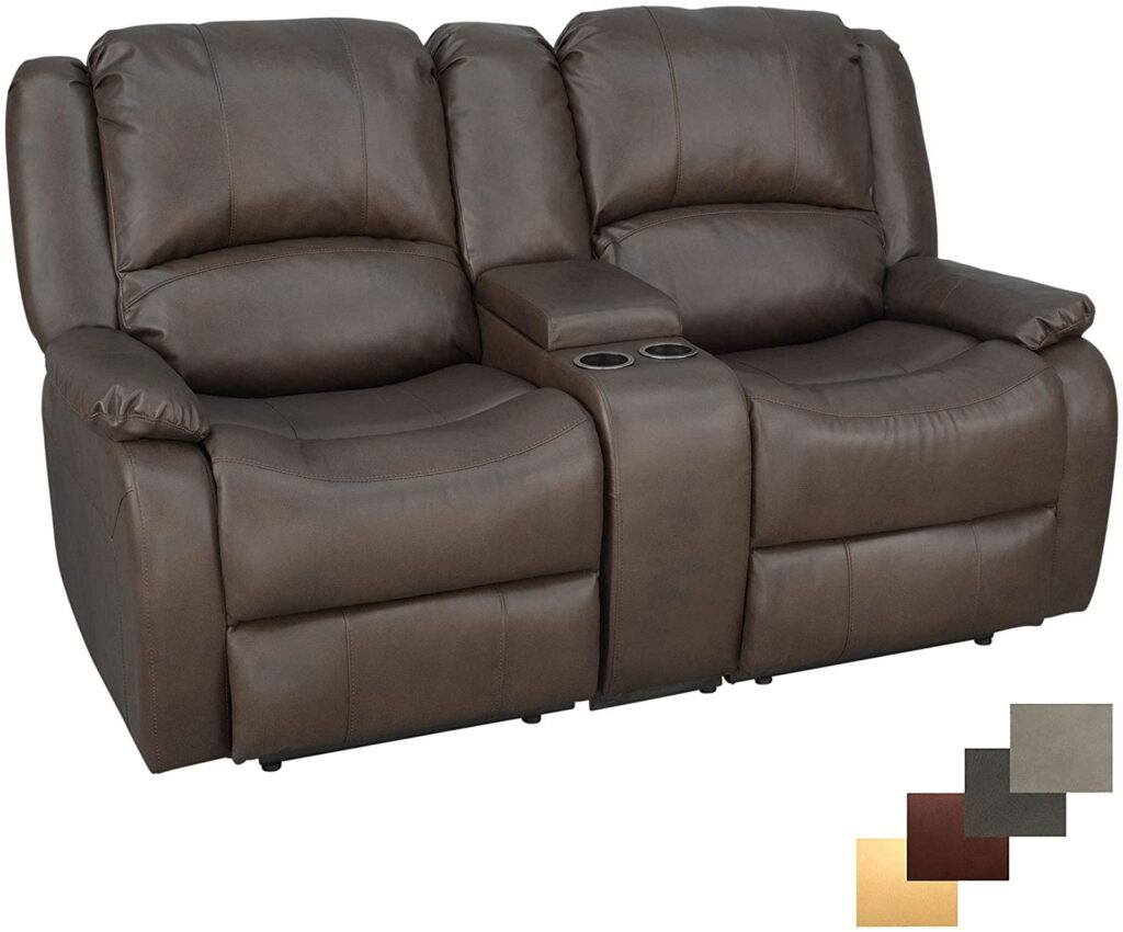 """RecPro Charles 67"""" Double Recliner RV Sofa and Console"""