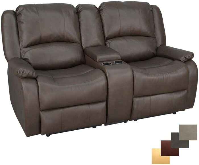 "RecPro Charles 67"" Double Recliner RV Sofa and Console"