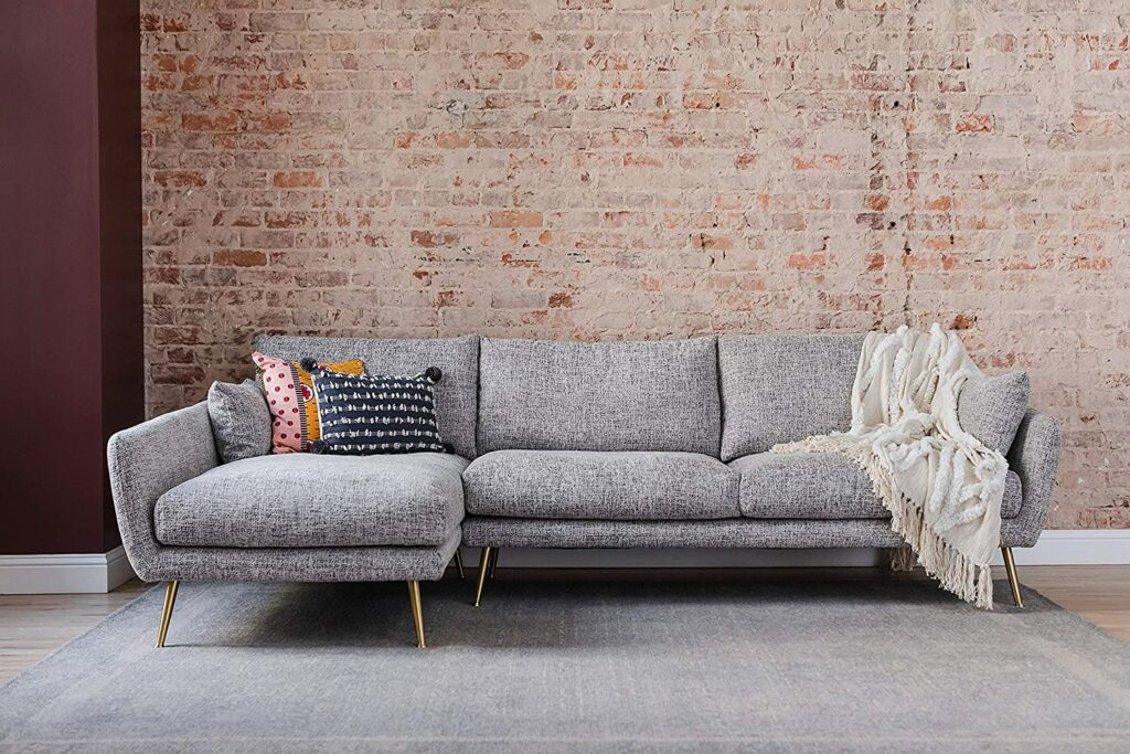 Edloe Finch Left Facing Chaise Down Feather Cushions Velvet