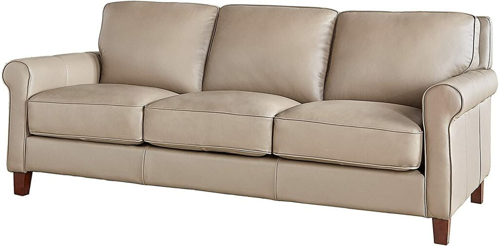 """Hydeline Laguna 100% Leather Sofa Couch, 86"""", Taupe"""