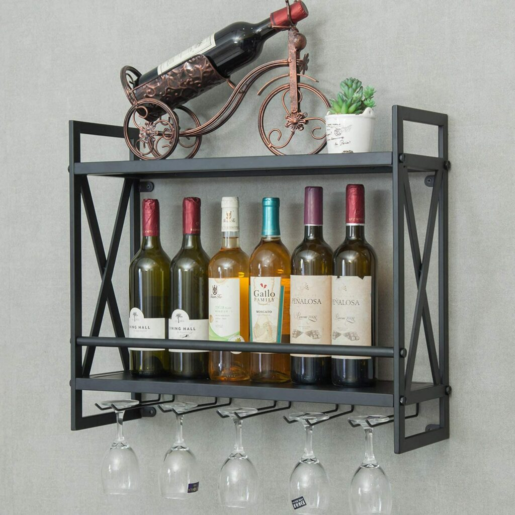 Industrial Wine Rack 14 Bottles Wall-Mounted Wine Cabinet with 5 Glasses Holder Metal and Wine Storage Shelf Multi-Function Display Rack for Home Bar, Restaurant and Kitchen