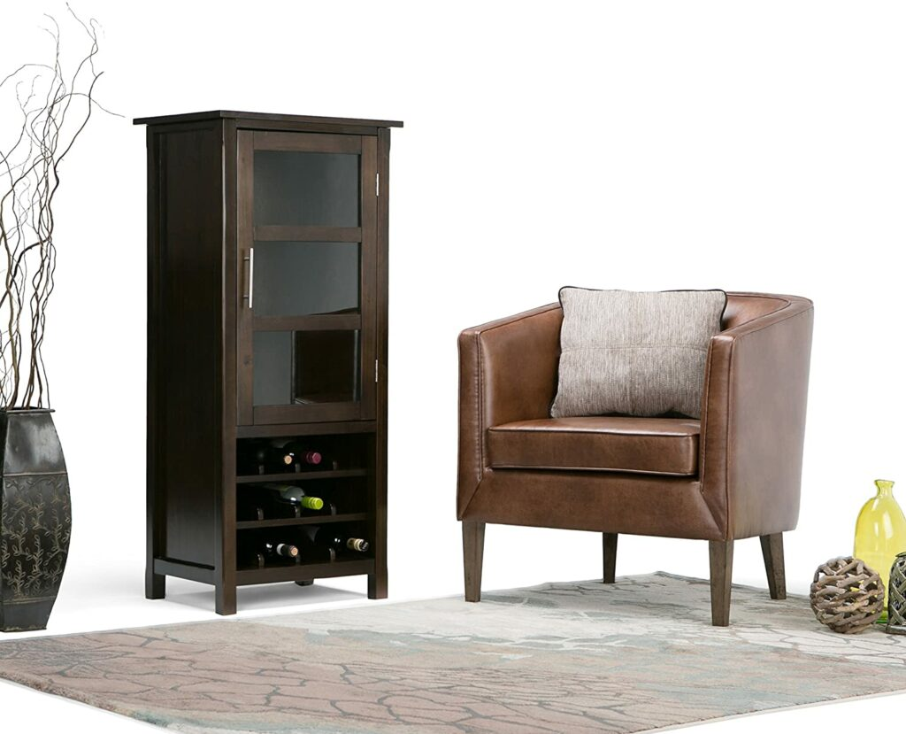 SIMPLIHOME Avalon 12-Bottle Solid Wood with Contemporary High Storage Wine Rack Cabinet in Dark Tobacco Brown with Storage Compartment and 2 shelves