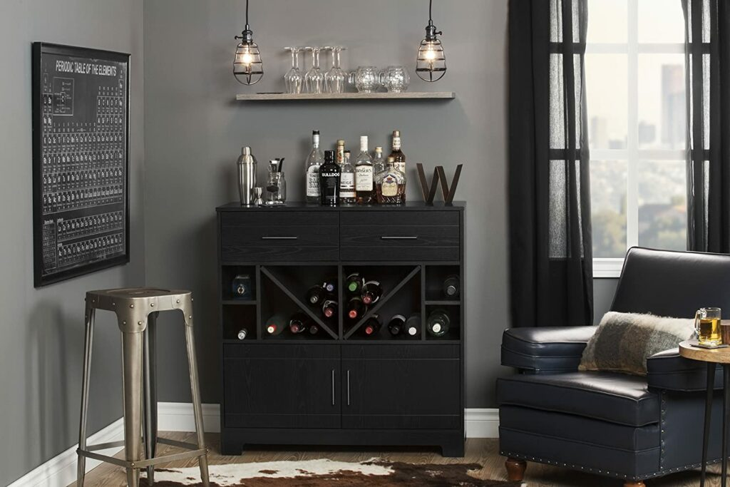 South Shore Vietti Bar Cabinet with Liquor and Wine Bottle